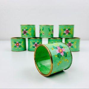 Vintage Brass Floral napkin ring set